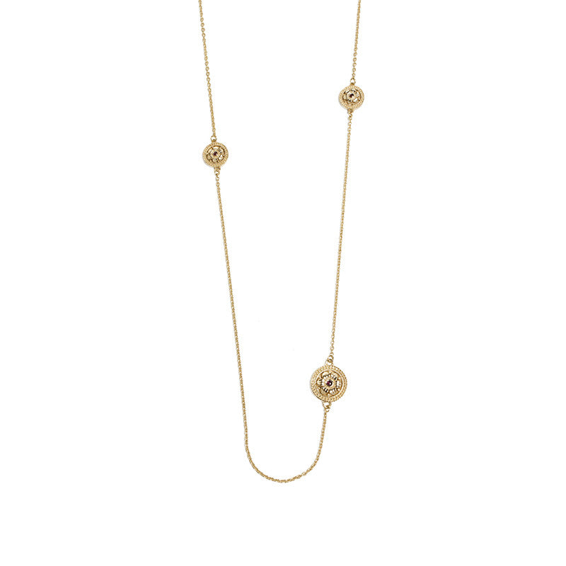 Gold plated etruscan rosette five pendant necklace the getty store gold plated etruscan rosette five pendant necklace aloadofball Images