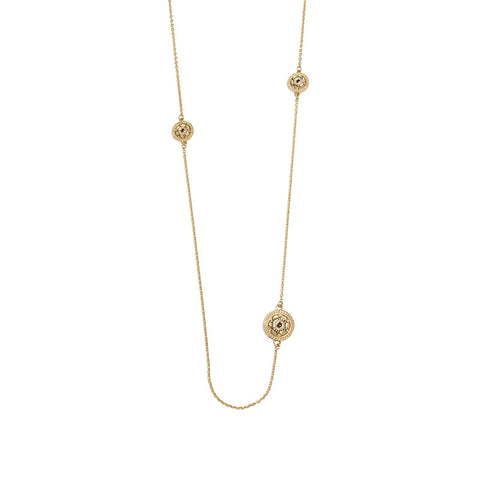 Gold Plated Etruscan Rosette Five Pendant Necklace