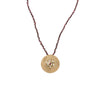 Gold Plated Etruscan Rosette Pendant on Garnet Bead Chain