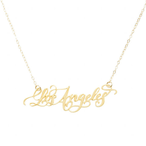 Los Angeles Script Necklace - Gold Plated