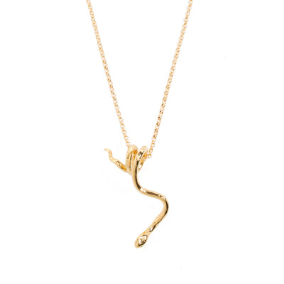 Snake Pendant Necklace - Gold-Plated