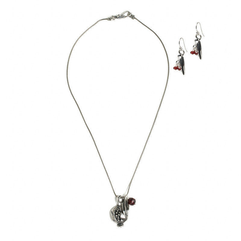 Ripe Pomegranate Pendant Necklace-Silver Plated- Necklace and earrings shown as set | Getty Store