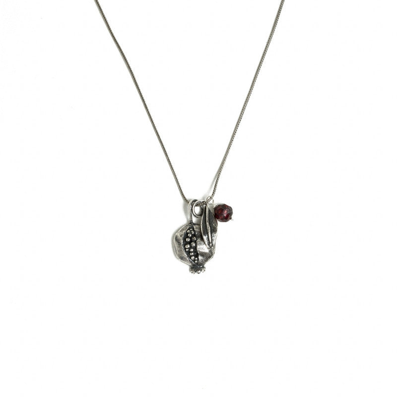 Ripe Pomegranate Pendant Necklace - Silver-Plated