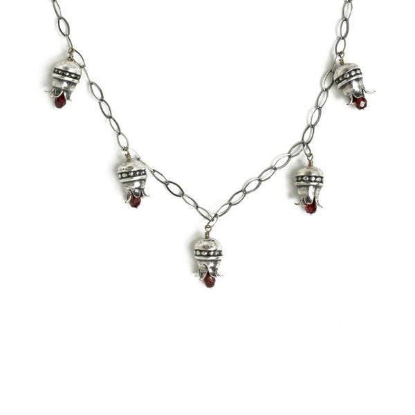 Pomegranate Necklace with Drop Garnets