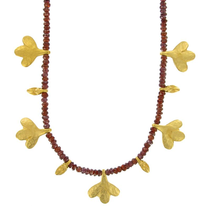 Hammered Leafs and Garnet Necklace | Getty Store