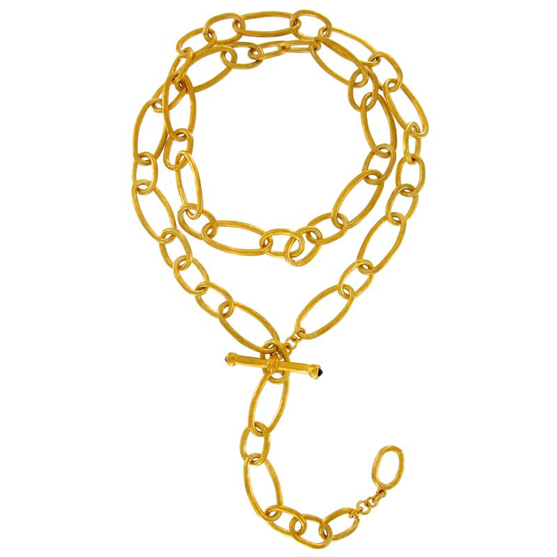 Oval Link and Iolite Toggle Necklace | Getty Store