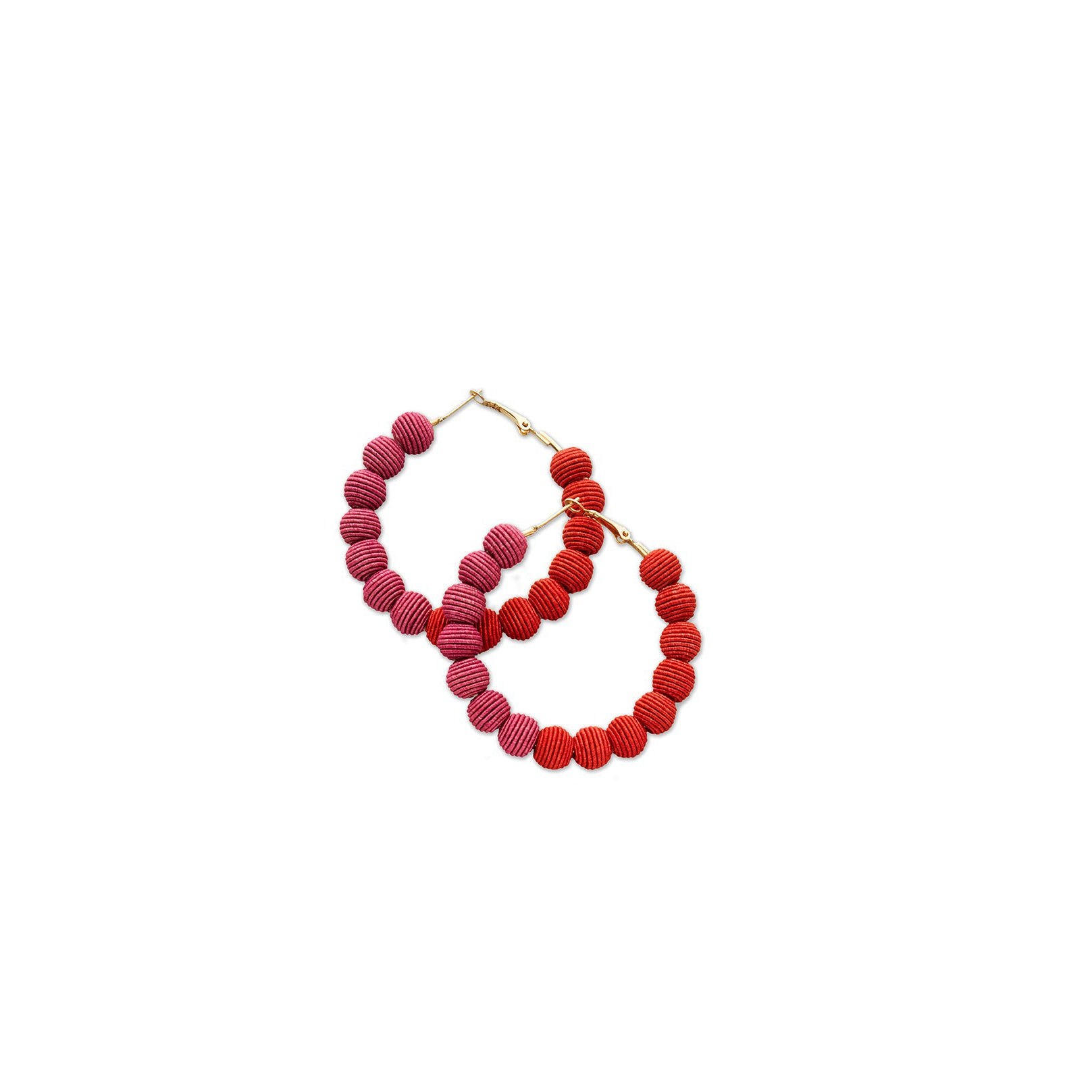 Red and Orchid Woven Hoop Earrings | Getty Store