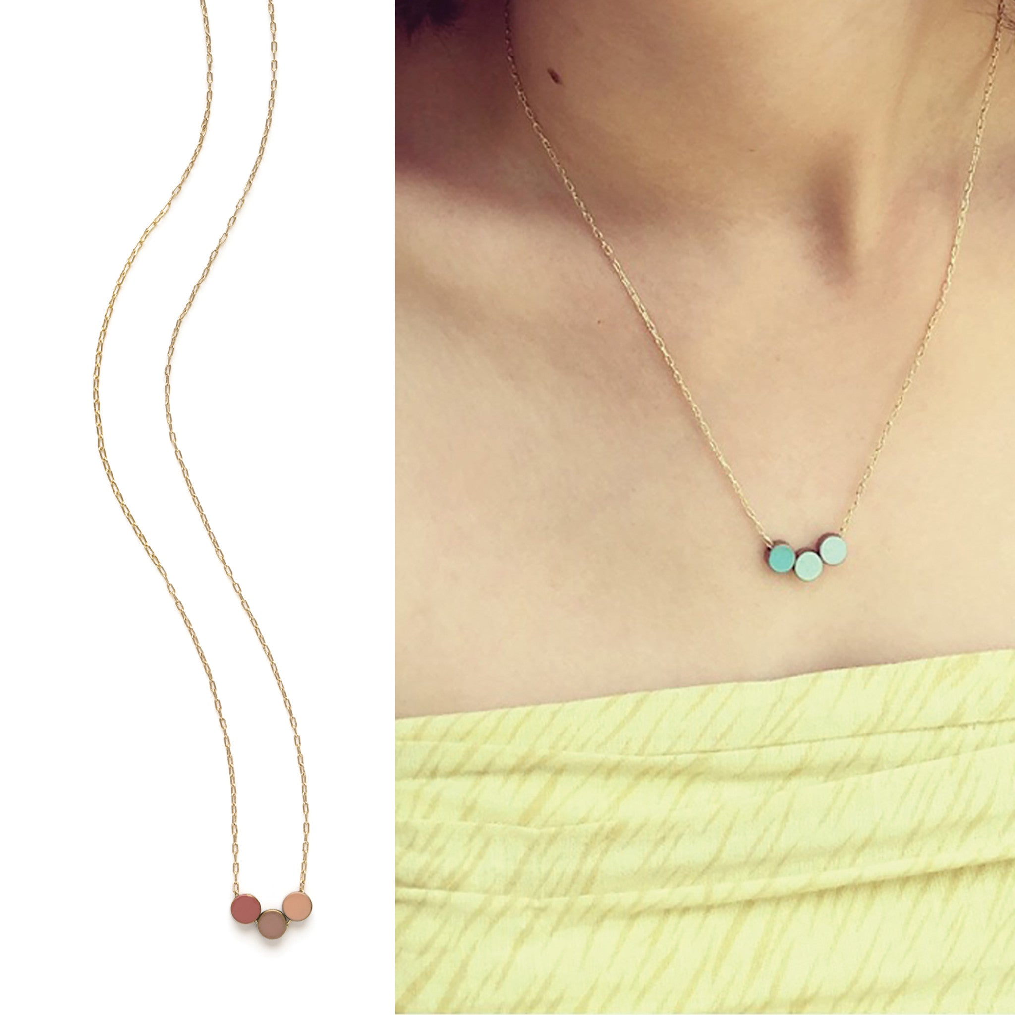 slice twisted ottoman turquoise rope necklace necklaces precious stone semi silk hands and pink gold