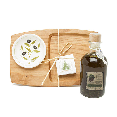 Gift Set - Appetizer Board, Olive Dish, and Olive Oil