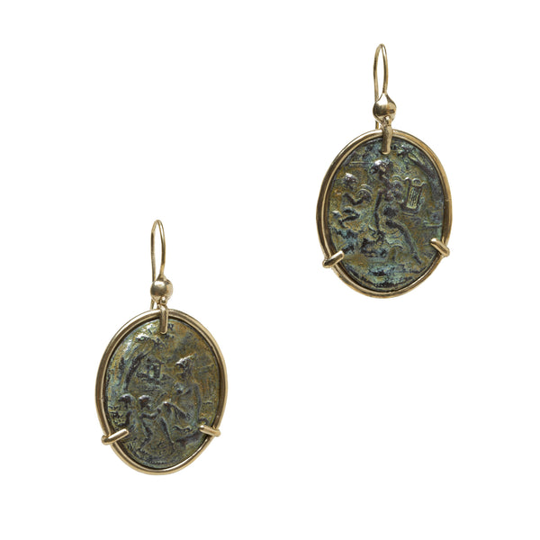Bronze Oval Drop Cameo Earrings