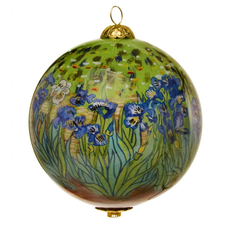 Irises Hand Painted Glass Ornament | Getty Store