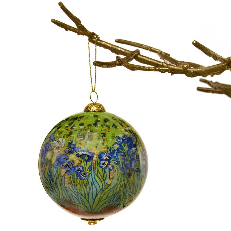 Irises Hand Painted Glass Ornament hanging on tree | Getty Store