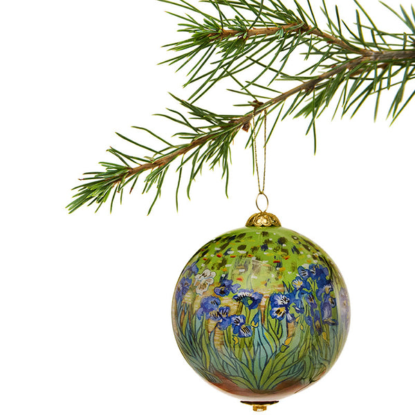 <i>Irises</i> Hand-Painted Glass Ornament