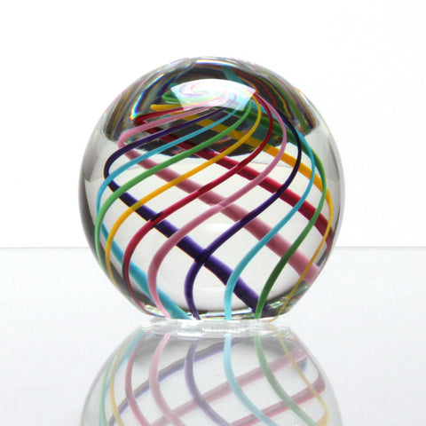 Hand Blown Paperweight Clear Cut Candy - Harrie Art Glass