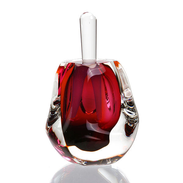 "Hand Blown Perfume Bottle (4"" H) - Rose - Harrie Art Glass"