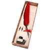 Feather Quill Pen Set - Red