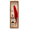 Boxed Red Feather Fleur-de-lys Calligraphy Pen Set