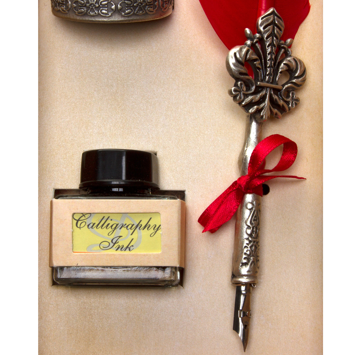 Boxed Red Feather Fleur-de-lys Calligraphy Pen Set | Getty Store