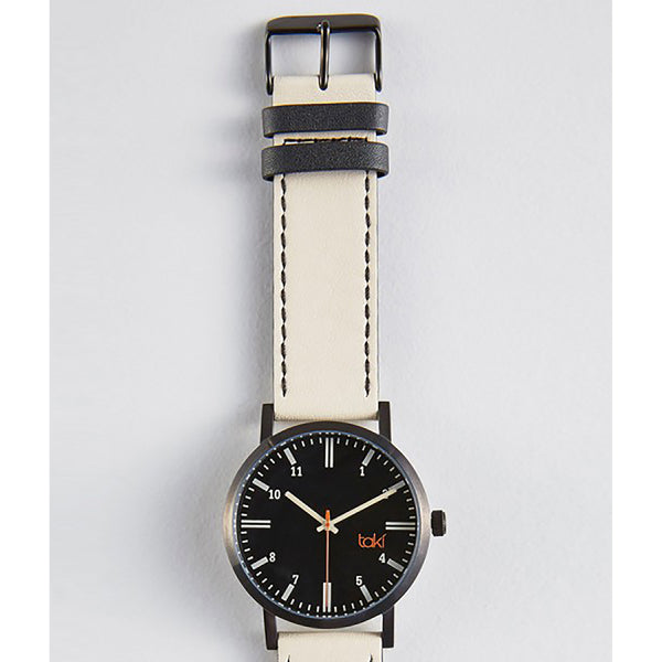 Cream/Black Leather Watch