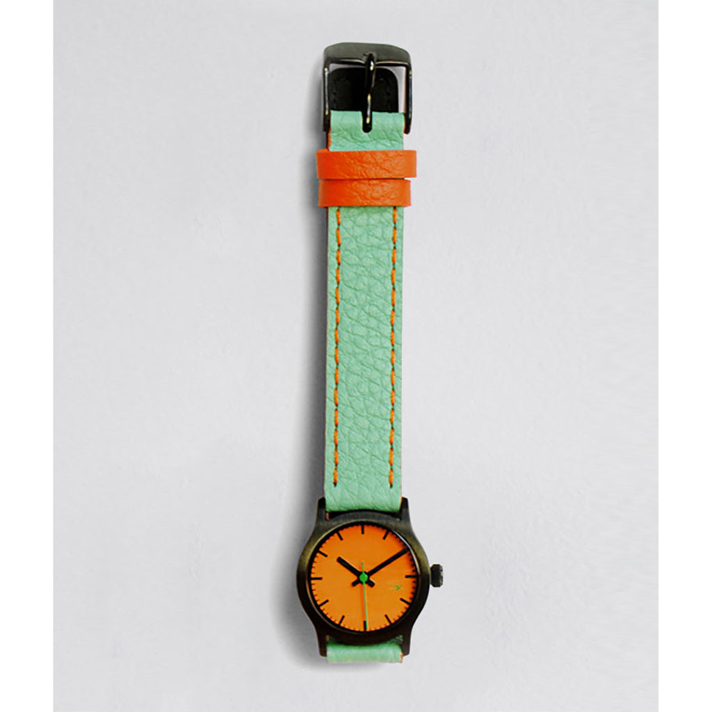 Aqua/Orange Leather Watch