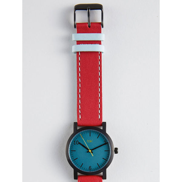 Red/Blue Leather Watch