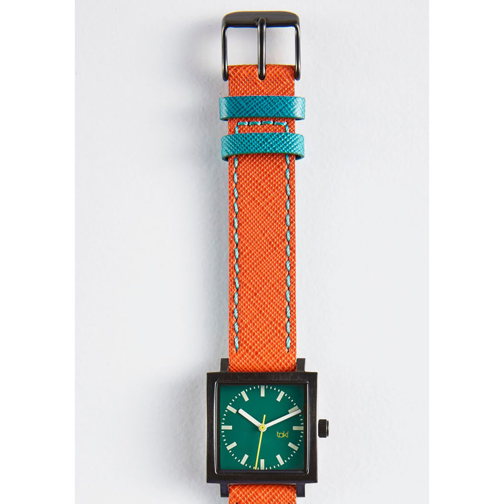 Orange/Emerald Leather Watch