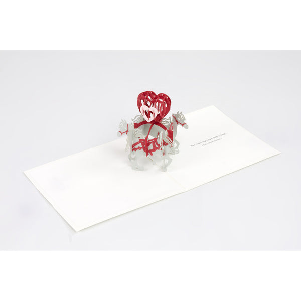 Pop-Up Valentine Note Card - Horse with Center Heart