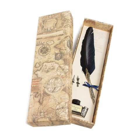 Calligraphy Writing Set with Blue Feather Quill and Blue Ink