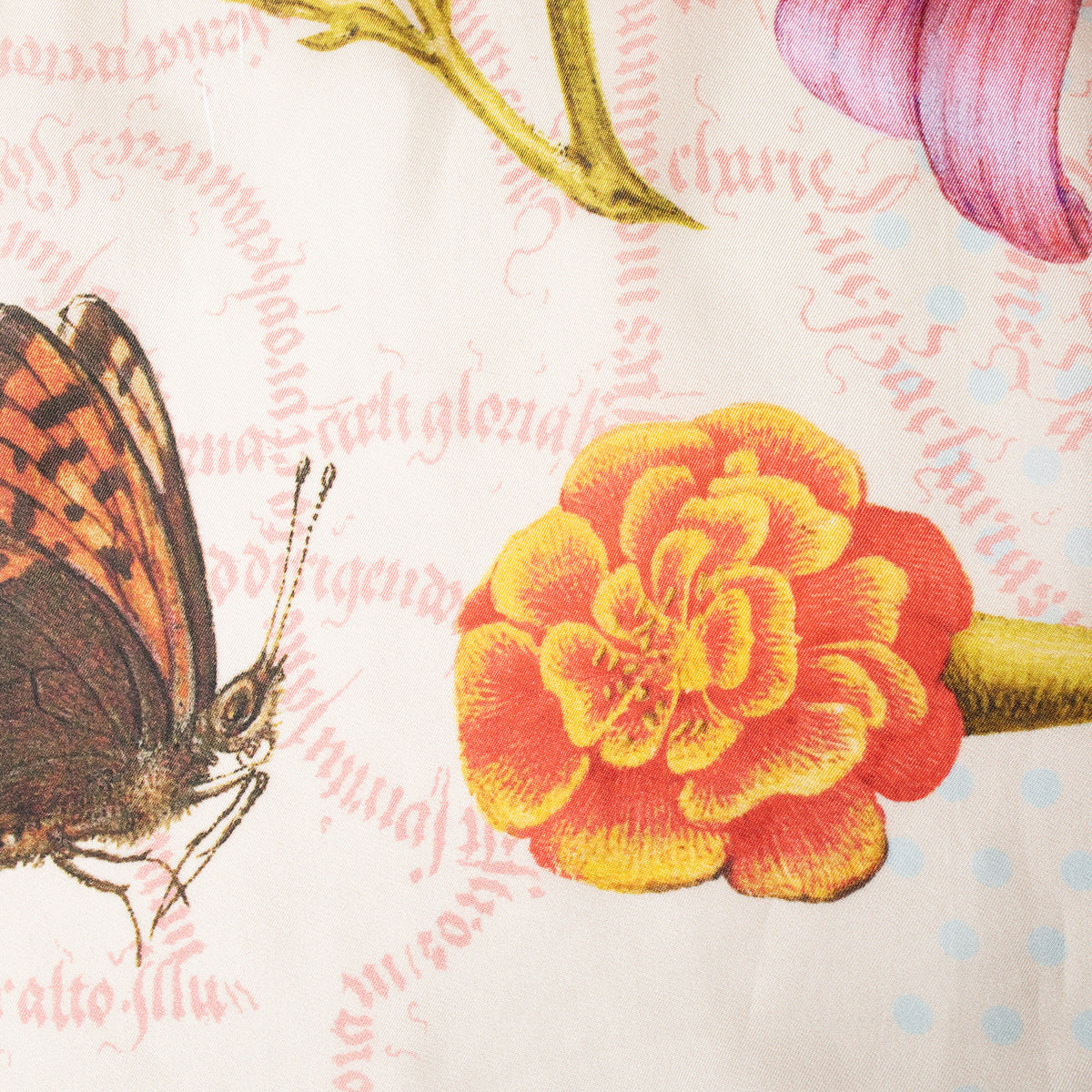 Botanical Illuminations Silk Scarf detail of flowers and butterfly | Getty Store
