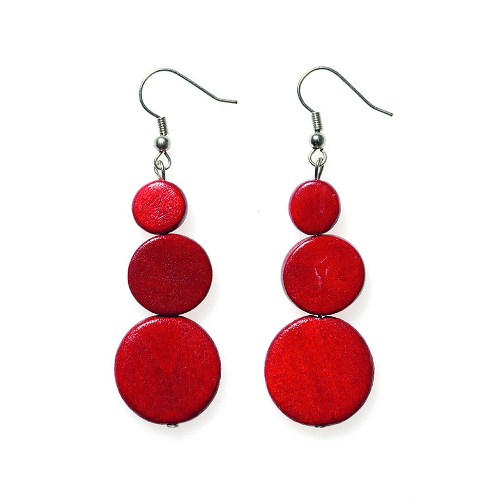 Red Triple Disc Drop Earring