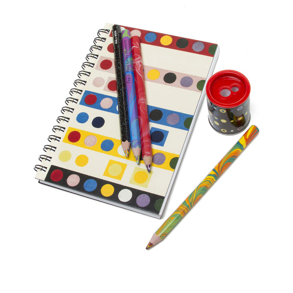 Exclusive Getty Gift Set - French Dot Pattern Sketch Book and Pencil Sharpener with Four Marble Tricolor Pencils