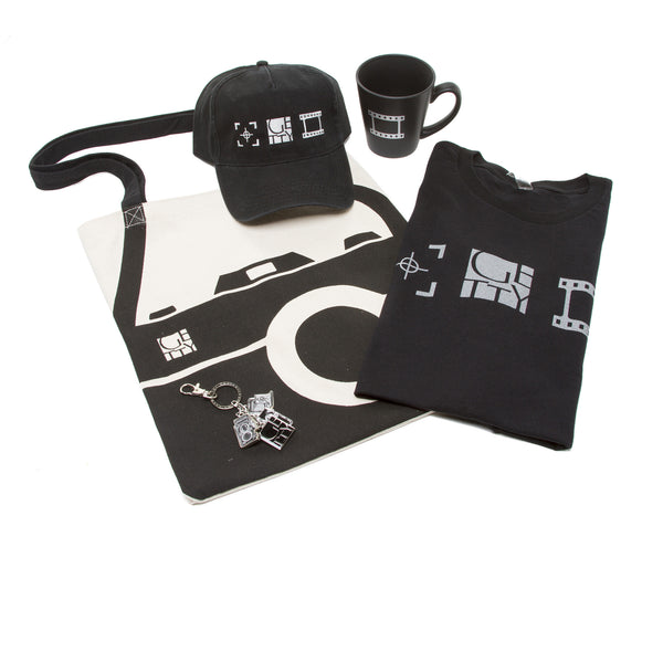 Exclusive Getty Gift Set - Getty Photo Icons T-Shirt, Mug, Cap, Tote, and Keychain