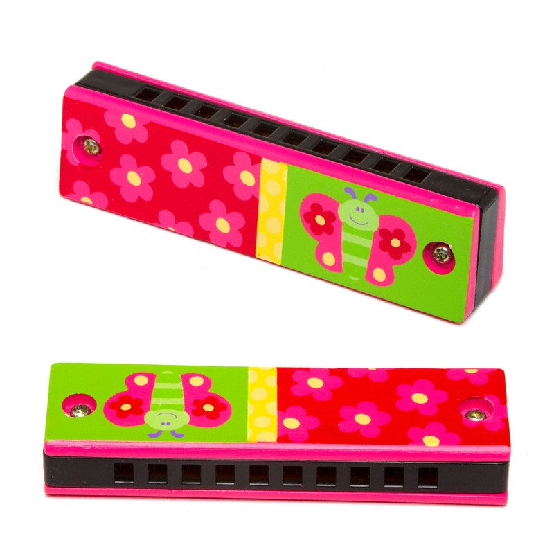 Handpainted Wood Harmonica - BUTTERFLY