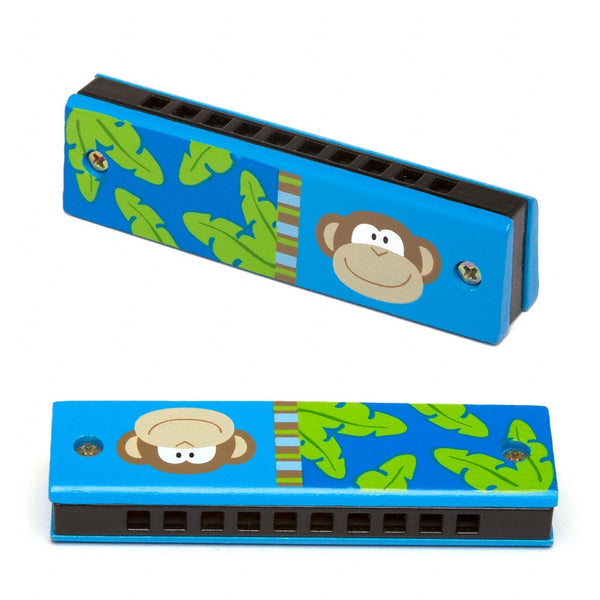 Handpainted Wood Harmonica - MONKEY