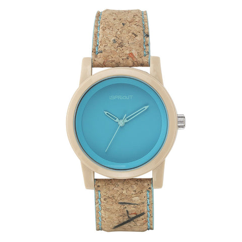 Corn Resin and Cork Watch - Blue Face