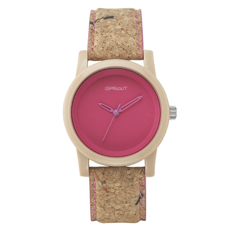 Corn Resin and Cork Watch - Pink Face