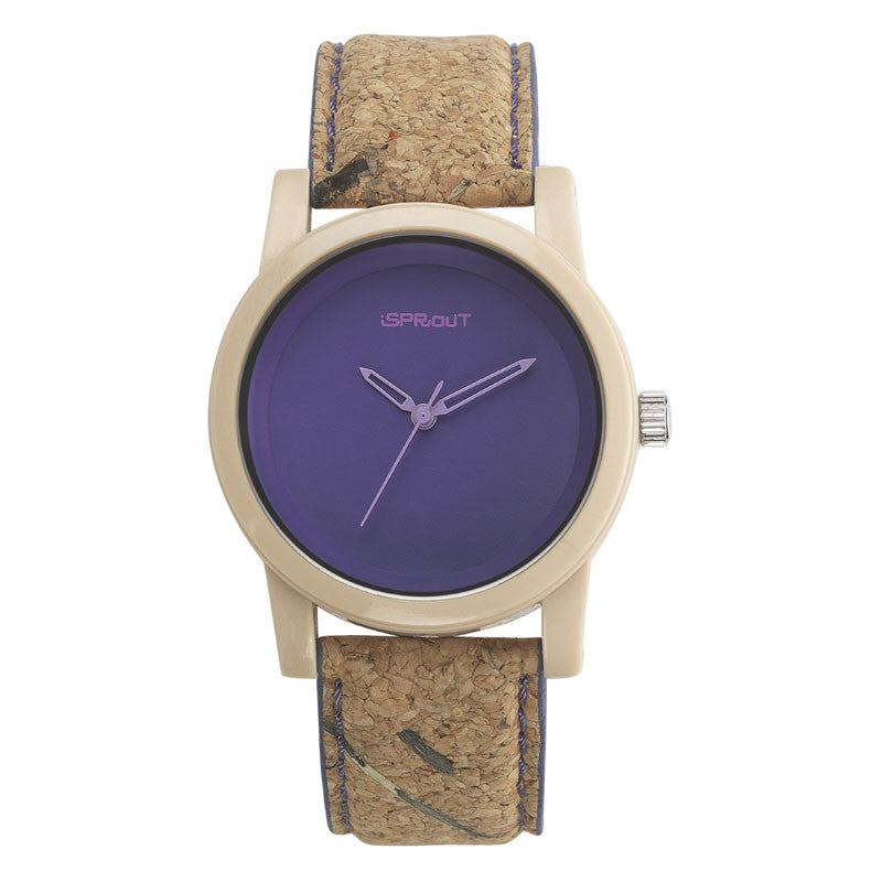 Corn Resin and Cork Watch - Purple Face