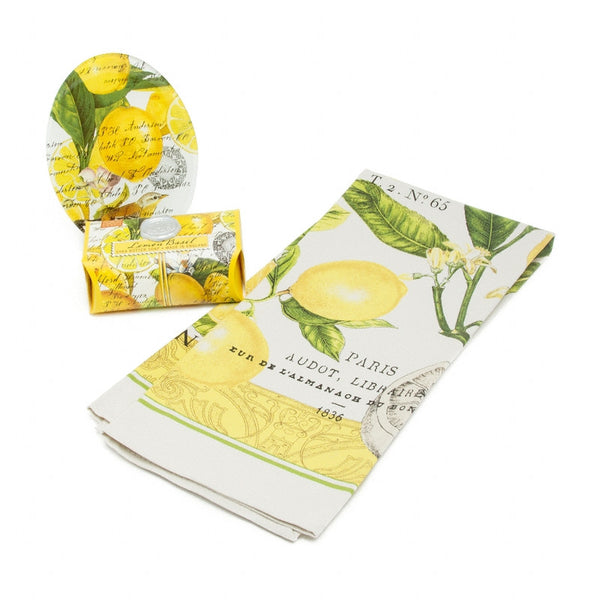 Gift Set - Lemon & Basil Tea Towel, Soap & Soap Dish