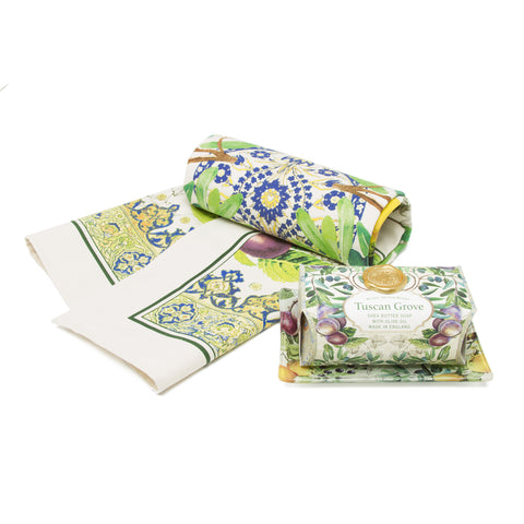 Gift Set -Tuscan Grove Tea Towel, Soap and Soap Dish