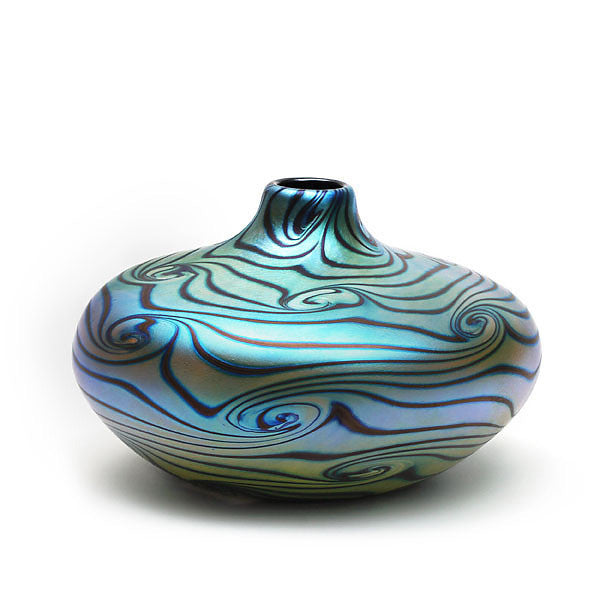 Vizzusi Art Glass Vase Medium Blue Luster With Graffito Swirl