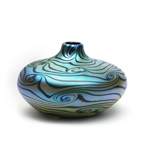 Vizzusi Art Glass Vase - Medium Blue Luster with Graffito Swirl
