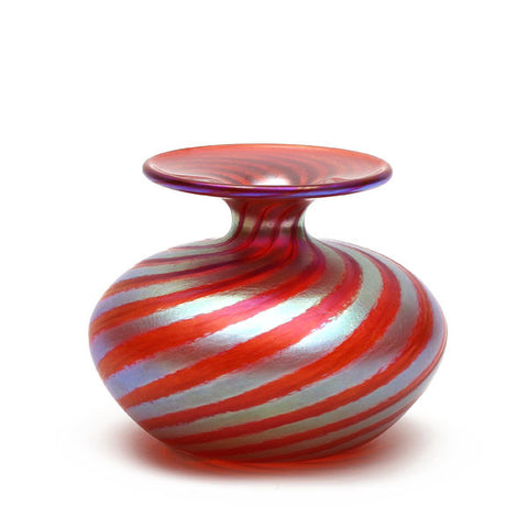 Vizzusi Art Glass Vase - Small Bulb Murano Stripe in Red and Gold