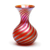 Vizzusi Art Glass Vase - Medium Bulb Murano Stripe Vase in Red and Gold