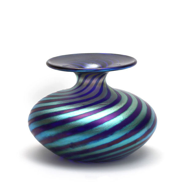 Vizzusi Art Glass Vase - Small Bulb Murano Stripe in Blue and Gold