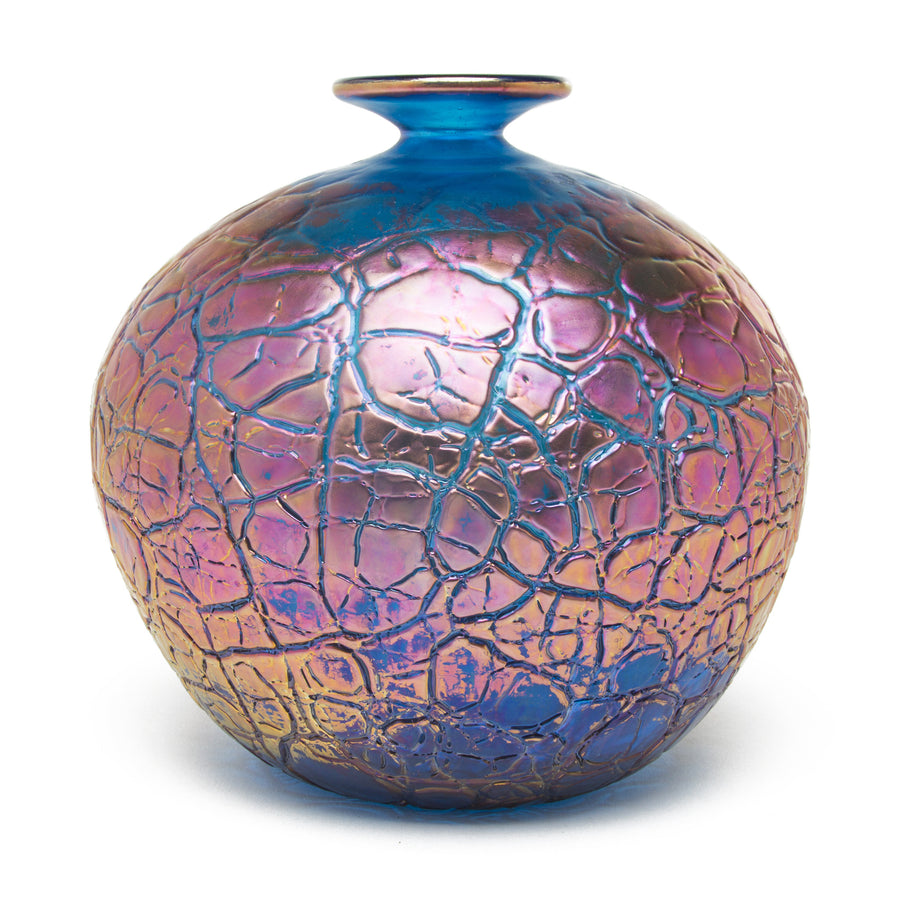 Vizzusi Art Glass Vase - Copper Tectonic