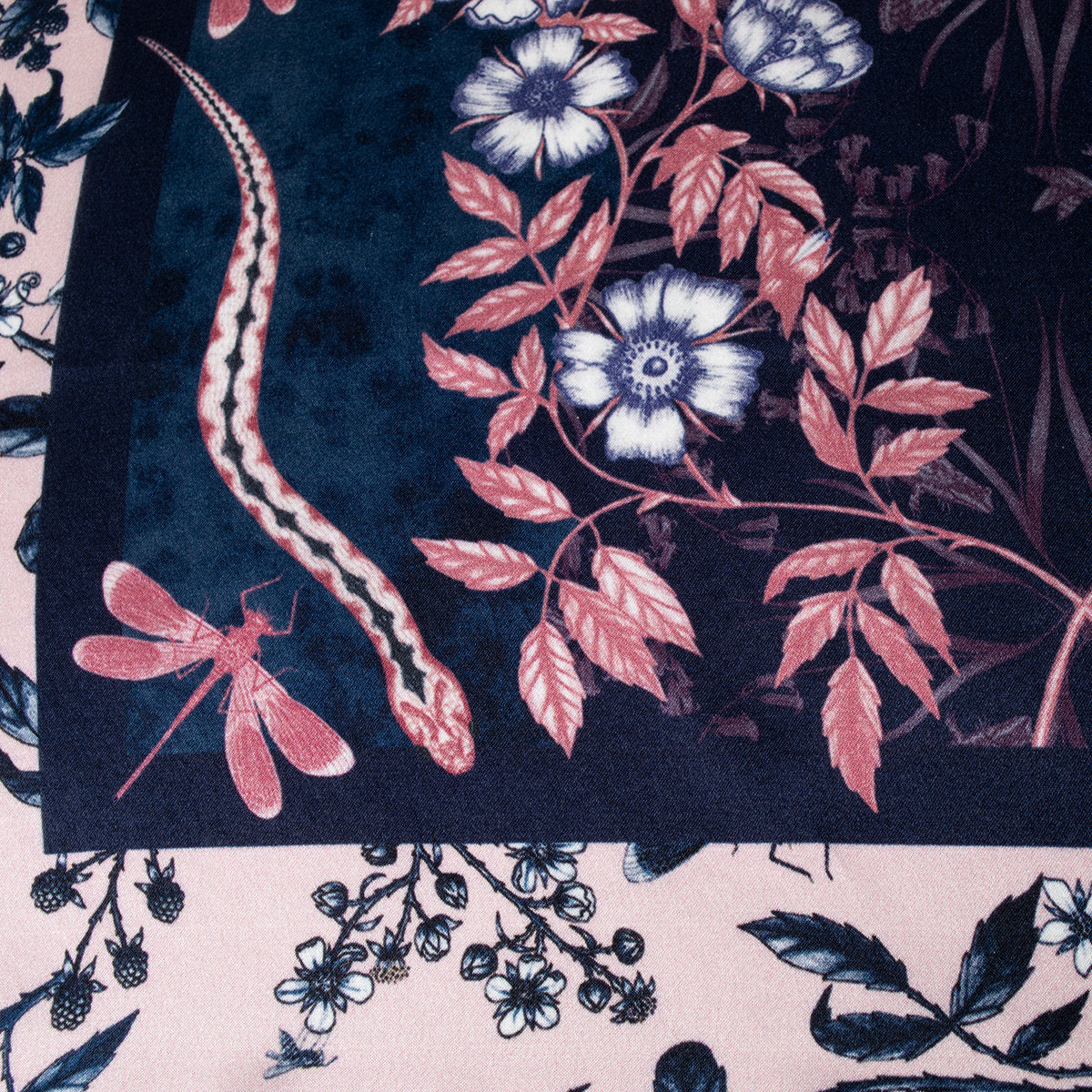 Wistman Small Silk Scarf- showing Dragonfly detail | Getty Store