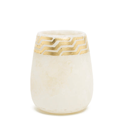 Egyptian Alabaster Vessel with Gold Leaf Detailing - Small
