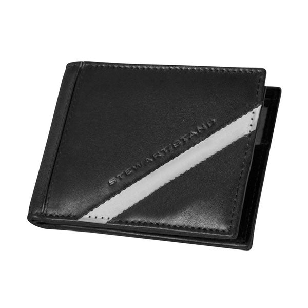 Black Leather Bi-fold Wallet with Woven Steel Accent