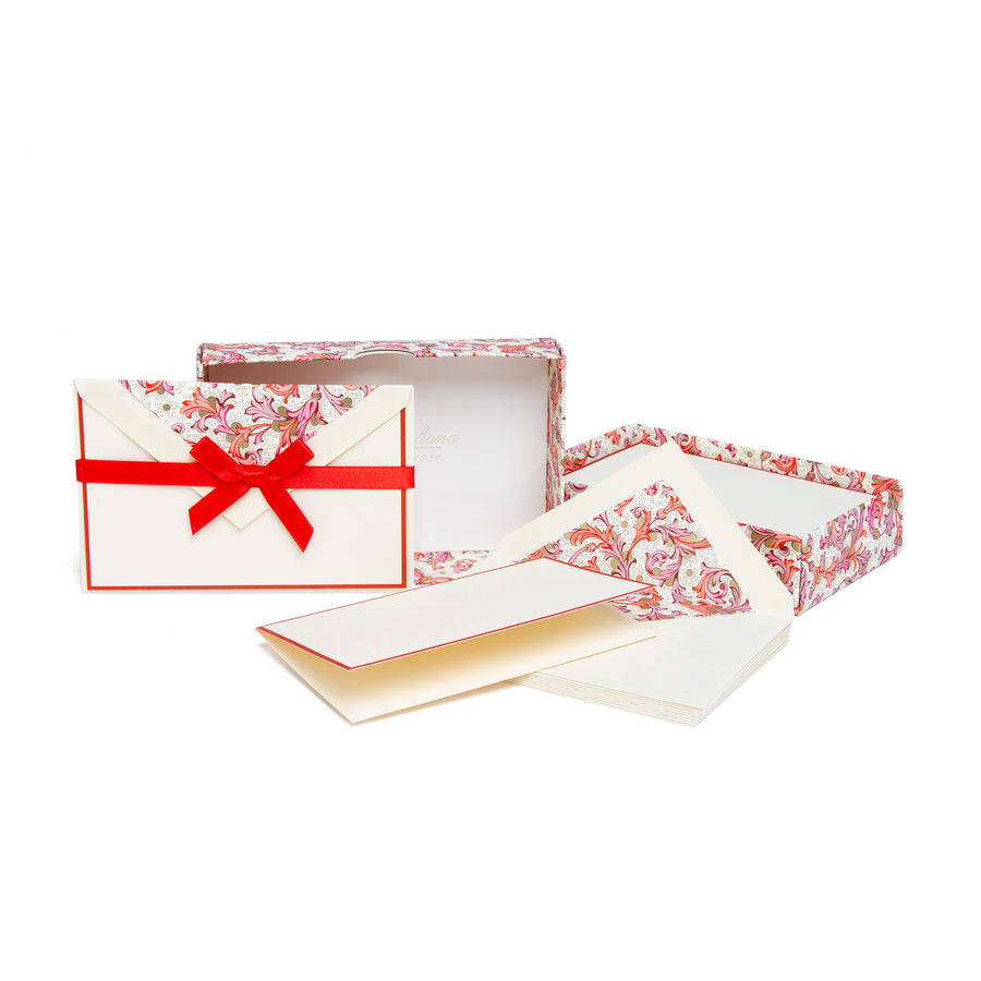 Florentine Folded Stationery Cards - Red