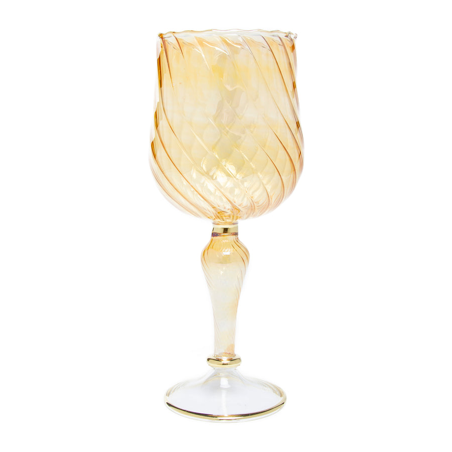 Egyptian Handblown Glass Wine Goblet - Yellow